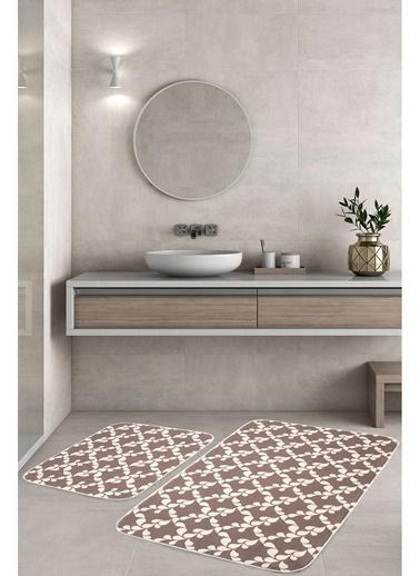 Hamur Minimal 2 'li Set Banyo Paspası Kaymaz Taban Banyo Halısı Kahve